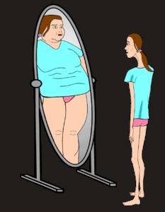 אישה מסתכלת במראה